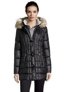 Laundry by Design black quilted faux fur trimmed hooded toggle coat