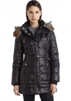 Laundry by Design black quilted nylon elastic waist faux fur hood coat