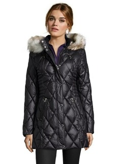 Laundry by Design black water resistant optional faux fur hooded jacket