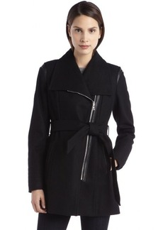 Laundry by Design black wool asymmetrical belted coat