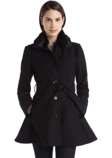 Laundry by Design black wool-blend belted faux fur lined coat