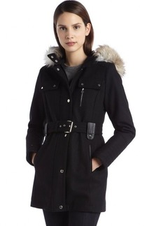 Laundry by Design black wool blend belted hooded military coat