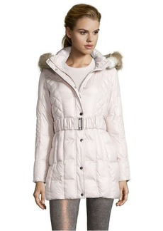 Laundry by Design bone mix quilted optional hooded 3/4-length down jacket