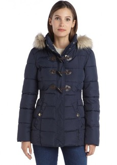 Laundry by Design brilliant blue quilted toggle front hooded puffer coat