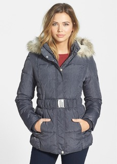 Laundry by Design Faux Fur Trim Belted Puffer Coat (Online Only)