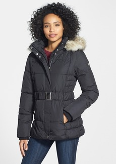 Laundry by Design Faux Fur Trim Belted Puffer Jacket (Online Only)