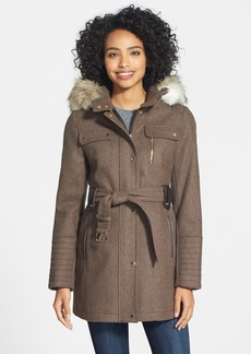 Laundry by Design Faux Fur Trim Belted Wool Blend Coat with Removable Hood