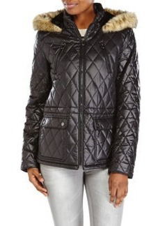 LAUNDRY BY DESIGN Faux Fur Trim Hooded Diamond Quilted Jacket