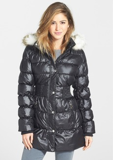 Laundry by Design Faux Fur Trim Hooded Quilted Coat
