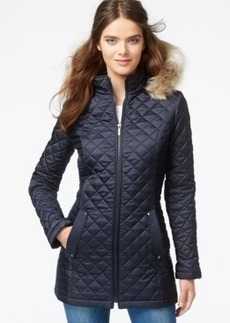 Laundry by Design Faux-Fur-Trim Hooded Quilted Jacket