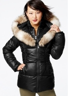Laundry by Design Faux-Fur-Trim Layered Puffer Coat
