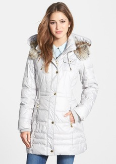 Laundry by Design Faux Fur Trim Quilted Anorak with Detachable Hood