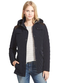 Laundry by Design Faux Suede Trim Hooded Quilted Jacket