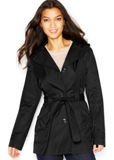 Laundry by Design Hooded Contrast-Trim Belted Trench Coat