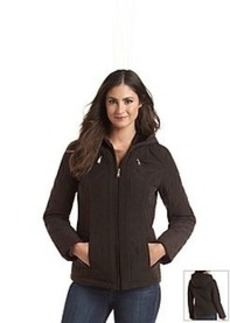 Laundry By Design Hooded Quilted Jacket with Corduroy Trim
