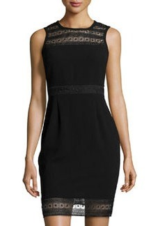 Laundry by Design Lace-Trim Sleeveless Sheath Dress, Black
