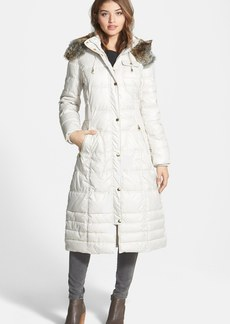 Laundry by Design Long Quilted Coat with Removable Faux Fur Trim Hood