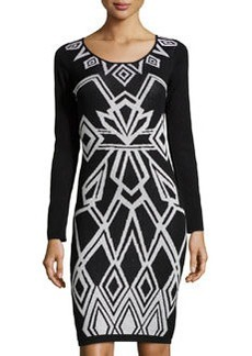 Laundry By Design Metallic Art Deco Sweaterdress, Chrome Multi