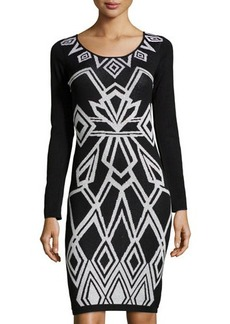 Laundry By Design Metallic Art Deco Sweaterdress