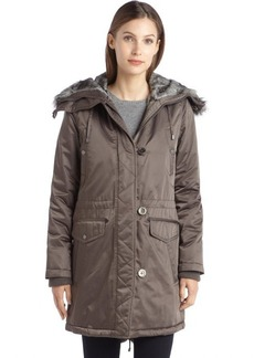 Laundry by Design olive woven faux fur hooded anorak jacket