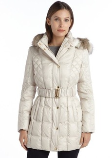 Laundry by Design pearl quilted belted faux fur trimmed hooded puffer coat