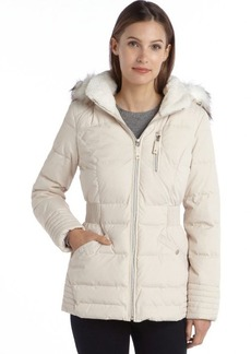 Laundry by Design pearl quilted faux fur hooded zip front puffer coat