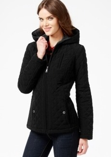 Laundry by Design Petite Faux-Fur-Lined Quilted Velour Coat