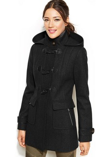 Laundry by Design Faux-Leather-Trim Hooded Toggle-Front Coat