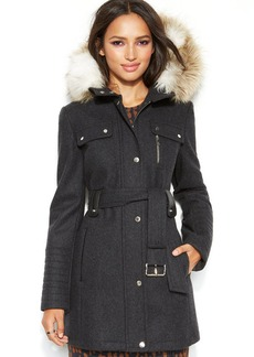 Laundry by Design Petite Hooded Faux-Fur Belted Wool-Blend Coat