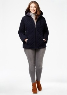 Laundry by Design Plus Size Faux-Fur-Lined Quilted Velour Coat