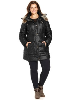 Laundry by Design Plus Size Faux-Fur-Trim Hooded Puffer Coat