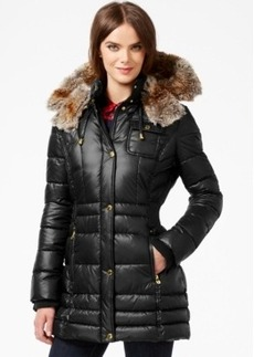 Laundry by Design Plus Size Faux-Fur-Trim Plus Size Puffer Coat