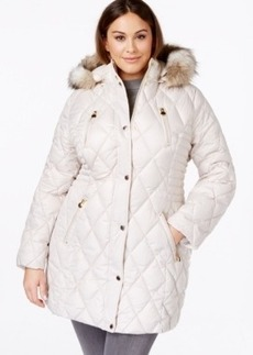 Laundry by Design Plus Size Faux-Fur-Trim Quilted Coat
