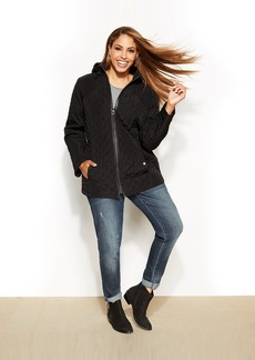 Laundry by Design Plus Size Faux-Leather-Trim Hooded Quilted Puffer Coat