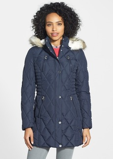Laundry by Design Quilted Walking Coat with Removable Faux Fur Trim Hood