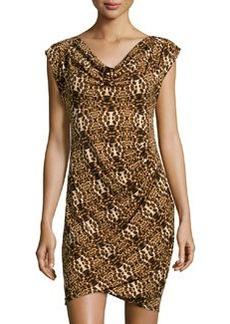 Laundry By Design Short-Sleeve Leopard-Print Dress, Black/Multicolor