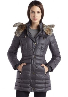 Laundry by Design slate quilted nylon elastic waist faux fur hood coat