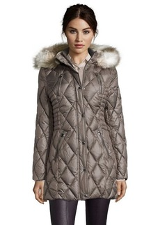 Laundry by Design smokey grey water resistant optional faux fur hooded jacket