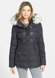 Laundry by Design Toggle Closure Puffer Coat with Detachable Faux Fur Trim Hood