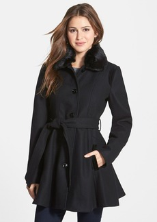 Laundry By Design Wool Blend Fit & Flare Coat with Faux Fur Trim