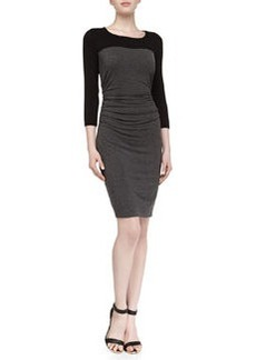 Laundry by Shelli Segal 3/4-Sleeve Contrast Fitted Stretch-Jersey Dress, Dark Charcoal