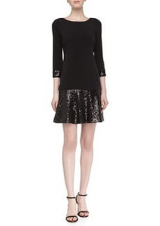 Laundry by Shelli Segal 3/4-Sleeve Dropped-Waist Sequined Dress