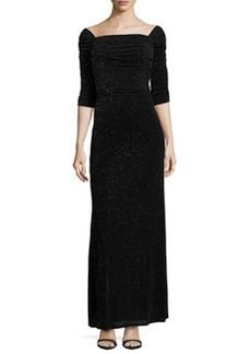 Laundry by Shelli Segal 3/4-Sleeve Glitzy Column Gown, Black