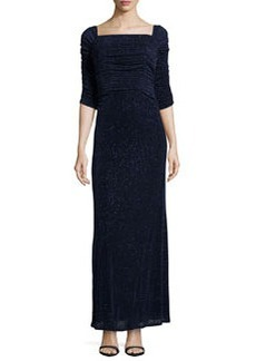 Laundry by Shelli Segal 3/4-Sleeve Glitzy Column Gown, Eclipse