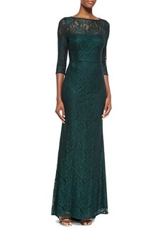 Laundry by Shelli Segal 3/4-Sleeve Lace Illusion Gown