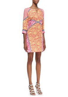 Laundry by Shelli Segal 3/4-Sleeve Mixed Print Keyhole Dress, Calypso Coral/Multicolor
