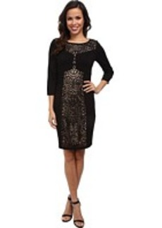 Laundry by Shelli Segal 3/4 Sleeve Ponte Dress w/ Laser Cut