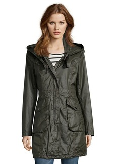 Laundry by Shelli Segal army green waxed cotton hooded anorak