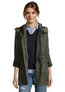 Laundry by Shelli Segal army green woven 3/4 length hooded parka