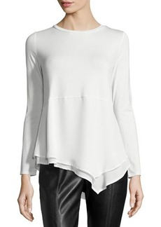 Laundry by Shelli Segal Asymmetric Chiffon-Trim Top